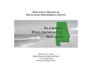 52ND ANNUAL MEETING OF THE ALABAMA PHILOSOPHICAL SOCIETY