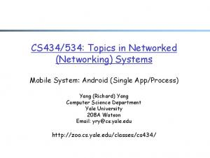 534: Topics in Networked (Networking) Systems