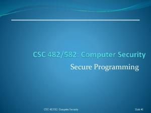 582: Computer Security Slide #1