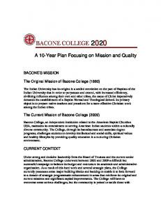 A 10-Year Plan Focusing on Mission and Quality