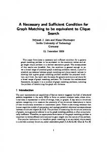 A Necessary and Sufficient Condition for Graph Matching to be equivalent to Clique Search