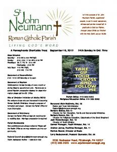 A Pennsylvania Charitable Trust September 16, th Sunday in Ord. Time