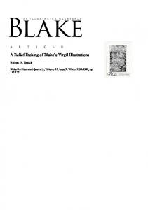 A Relief Etching of Blake s Virgil Illustrations