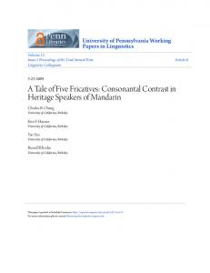 A Tale of Five Fricatives: Consonantal Contrast in Heritage Speakers of Mandarin