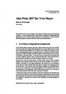 Abel Prize 2017 for Yves Meyer