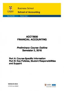 ACCT5930 FINANCIAL ACCOUNTING. Preliminary Course Outline Semester 2, 2016