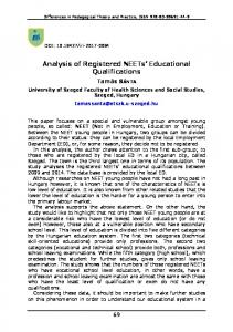 Analysis of Registered NEETs Educational Qualifications