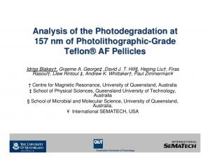 Analysis of the Photodegradation at 157 nm of Photolithographic-Grade Teflon AF Pellicles