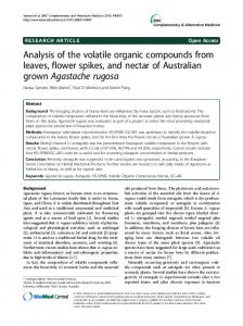 Analysis of the volatile organic compounds from leaves, flower spikes, and nectar of Australian grown Agastache rugosa