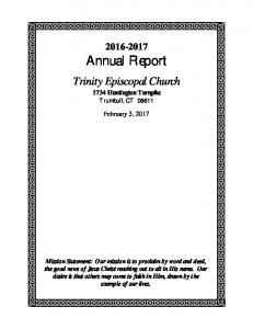 Annual Report. Trinity Episcopal Church Huntington Turnpike Trumbull, CT February 5, 2017