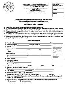 Application to Take Examination for License as a Registered Professional Land Surveyor