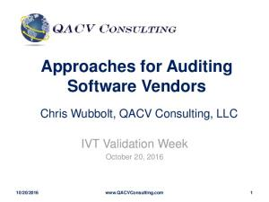 Approaches for Auditing Software Vendors