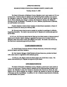 APPROVED MINUTES BOARD OF EDUCATION OF BALTIMORE COUNTY, MARYLAND Tuesday, January 11, 2005