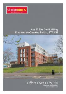 Apt 27 The Oar Building, 31 Annadale Crescent, Belfast, BT7 3NB. Offers Over 139,950 Telephone
