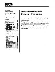 Armada Family Software Overview Third Edition