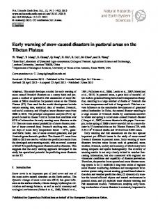 Atmospheric Chemistry and Physics Early warning of snow-caused disasters in pastoral areas on the Tibetan Plateau