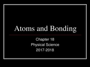 Atoms and Bonding. Chapter 18 Physical Science