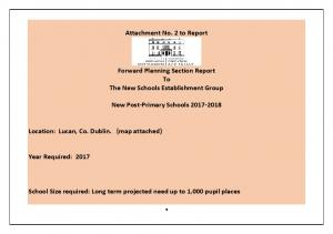 Attachment No. 2 to Report. Forward Planning Section Report To The New Schools Establishment Group. New Post-Primary Schools