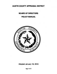 AUSTIN COUNTY APPRAISAL DISTRICT BOARD OF DIRECTORS POLICY MANUAL