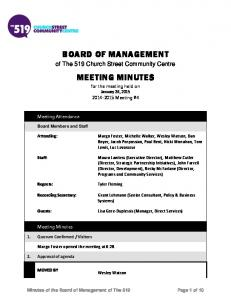 BOARD OF MANAGEMENT. MEETING MINUTES for the meeting held on