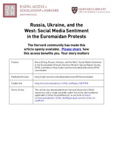 Bruce Etling, Russia, Ukraine, and the West: Social Media Sentiment. in the Euromaidan Protests