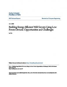 Building Energy-Efficient Web Servers Using Low Power Devices: Opportunities and Challenges