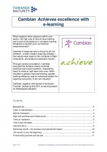 Cambian Achieves excellence with e-learning