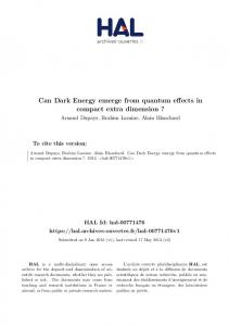 Can Dark Energy emerge from quantum effects in compact extra dimension?
