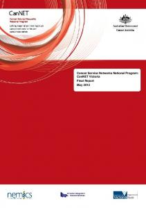 Cancer Service Networks National Program: CanNET Victoria Final Report May 2012
