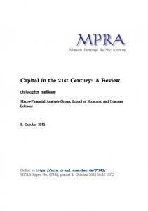Capital In the 21st Century: A Review