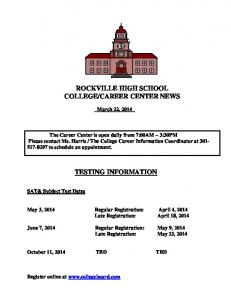 CAREER CENTER NEWS TESTING INFORMATION