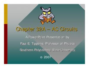Chapter 32A AC Circuits. A PowerPoint Presentation by Paul E. Tippens, Professor of Physics Southern Polytechnic State University