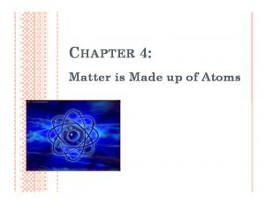 CHAPTER 4: Matter is Made up of Atoms