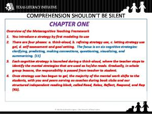 CHAPTER ONE COMPREHENSION SHOULDN T BE SILENT