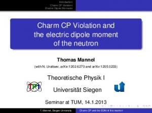 Charm CP Violation and the electric dipole moment of the neutron