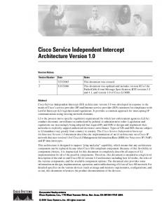 Cisco Service Independent Intercept Architecture Version 1.0