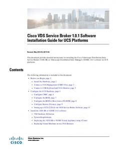 Cisco VDS Service Broker Software Installation Guide for UCS Platforms