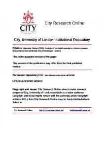 City, University of London Institutional Repository. This version of the publication may differ from the final published version