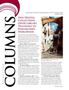 COLUMNS. New Digital Collections Offer Library Treasures to Researchers Worldwide. University South Caroliniana Society newsletter spring 2011