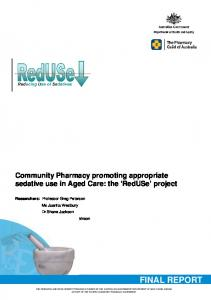 Community Pharmacy promoting appropriate sedative use in Aged Care: the RedUSe project