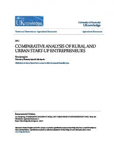 COMPARATIVE ANALYSIS OF RURAL AND URBAN START-UP ENTREPRENEURS