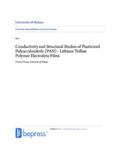 Conductivity and Structural Studies of Plasticized Polyacrylonitrile (PAN) - Lithium Triflate Polymer Electrolyte Films