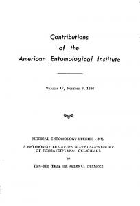 Contributions. the. Volume 1 7, Number 3, 1980 MEDICAL ENTOMOLOGY STUDIES - XII