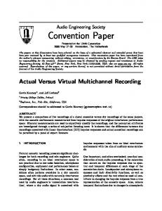 Convention Paper Presented at the 124th Convention 2008 May Amsterdam, The Netherlands