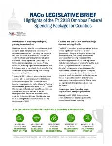 Counties and the FY 2018 omnibus: Major victories on key priorities. Introduction: A massive spending bill, growing federal deficits