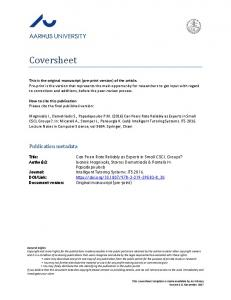 Coversheet. Publication metadata