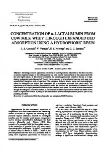 COW MILK WHEY THROUGH EXPANDED BED ADSORPTION USING A HYDROPHOBIC RESIN