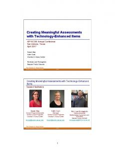 Creating Meaningful Assessments with Technology-Enhanced Items