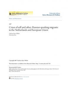 Crises of self and other: Russian-speaking migrants in the Netherlands and European Union