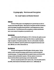 Cryptography: Matrices and Encryption